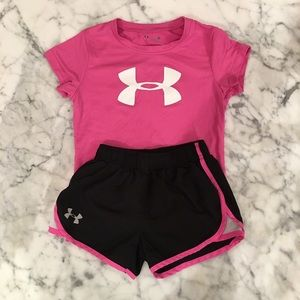 Girls pink and black Under Armour set.